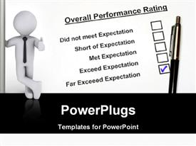 PowerPoint template displaying performance rating concept using business person and pet with white color