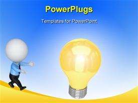 PowerPoint template displaying small person running to a lamp with blue color