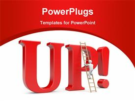 Person climb on UP! word. Success metaphor powerpoint theme