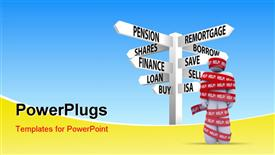 PowerPoint template displaying person wrapped in red tape marked help, getting caught in a problem needing rescue to be freed with sign post
