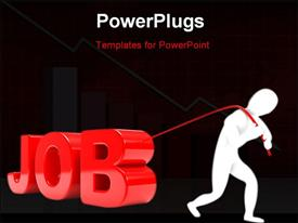 PowerPoint template displaying person pulls the 3D word in red with black color