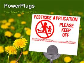 PowerPoint template displaying herbicide warning sign on a lawn that is filled with dandelions in the background.