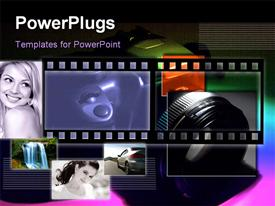 PowerPoint template displaying camera in subdued light in the background.