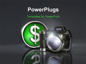 Simple dark camera sitting on a reflective gray surface with a metallic green D powerpoint design layout
