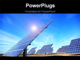 PowerPoint template displaying central of photovoltaic panels at south of Portugal in the background.