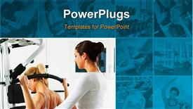 PowerPoint template displaying collage of nine small depictions and one large depiction of fitness and exercising