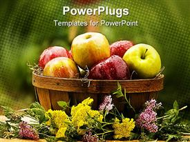 PowerPoint template displaying lots of green and red apples in a large brown bowl