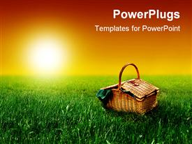 PowerPoint template displaying a beautiful sunny day with a basket on the ground and sun in the background