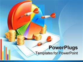 PowerPoint template displaying colorful pie chart with orange darts and stacks of coins