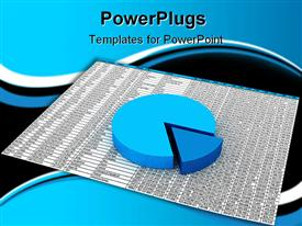 PowerPoint template displaying three dimensional exploded blue pie chart on spreadsheet