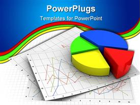 PowerPoint template displaying colorful pie chart with red segment sticking out on chart papers