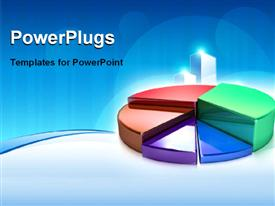 PowerPoint template displaying colored 3D rendered pie chart over blue background