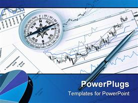 PowerPoint template displaying a pen with a compass and financial report in the background