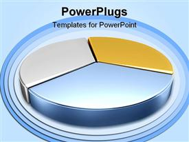 PowerPoint template displaying a 3D design of metallic color pie chart on blue background