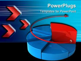 PowerPoint template displaying pie chart concept with different elevations in the background.