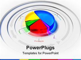 PowerPoint template displaying 3D colorful pie chart framed by arrows on gray background
