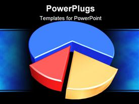 PowerPoint template displaying three dimensional pie graph in blue, red, and yellow