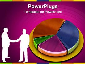 PowerPoint template displaying depiction of two business people shaking hands beside a colorful bar chart
