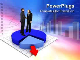 PowerPoint template displaying animated human figures standing on a blue pie chart