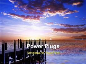 PowerPoint template displaying beautiful sunset evening