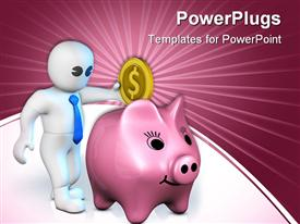 PowerPoint template displaying 3D man in white drops gold coin in purple piggy bank