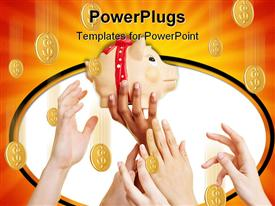 PowerPoint template displaying savings metaphor with hands reaching for piggy bank coins falling from overhead