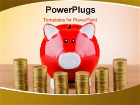 PowerPoint template displaying business concept with piggy bank and stack of coins in front, with light brown color