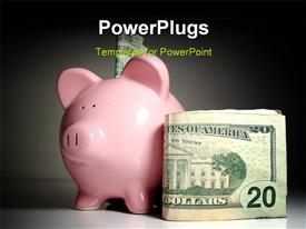 PowerPoint template displaying piggy bank with american currency saving money with black color