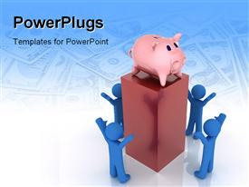 PowerPoint template displaying piggy bank placed on pillar with people standing below and american currency