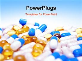 PowerPoint template displaying close up view of multi colored tablets and capsules with blue color