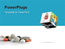 PowerPoint template displaying cube with medical depictions with pills and coins