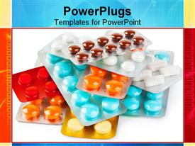 PowerPoint template displaying packs of pills