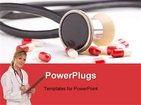 PowerPoint template displaying red - white pills and stethoscope. Medical concept in the background.