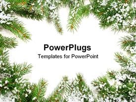 PowerPoint template displaying a beautiful representation of Christmas season with place for text