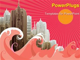 PowerPoint template displaying vector illustration of a city with buildings and sea waves with sun and rays
