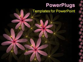 Pink flowers accented with yellow light computer generated fractal abstract background powerpoint design layout
