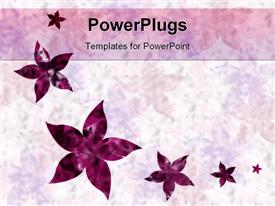PowerPoint template displaying floral pattern with six various sized purple flowers on gradient light purple and white background