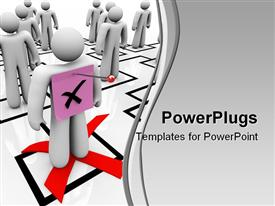 PowerPoint template displaying employee gets a pink slip symbolizing being fired in an organizational chart in the background.