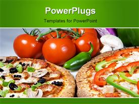 PowerPoint template displaying fresh pizza deal with fresh toppings and hot cheese with vegetables