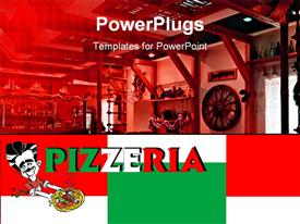 PowerPoint template displaying pizzeria word written in Italy's colors on geometric shapes with red, white and green and depiction of italian restaurant and pizzeria interior
