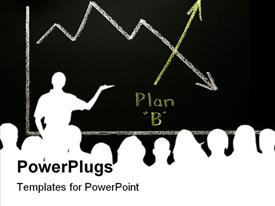 PowerPoint template displaying silhouette of man making presentation to a group with graph showing downward trend replaced by upward Plan B