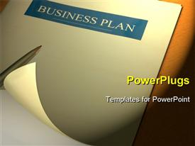 PowerPoint template displaying a pen placed over the business plan with brown color