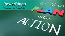PowerPoint template displaying a greenish background with a number of words saying put plan into actions