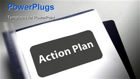 PowerPoint template displaying document with title page for the action plan