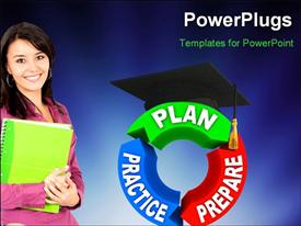 PowerPoint template displaying student smiling and strategy for success plan, prepare, practice with blue color