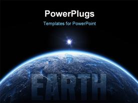 PowerPoint template displaying nice deep space planet background with copy space for your text in the background.