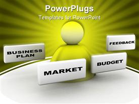 Business plan with market budget and feedback frames powerpoint template