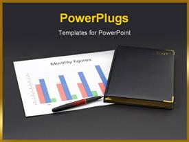 PowerPoint template displaying diary together with financial chart and pen with dark grey color