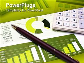 PowerPoint template displaying a pen on a financial report along with a calculator