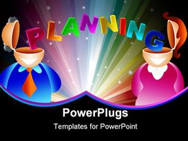 PowerPoint template displaying man and woman with the word planning stretching from one brain to another - icon people series